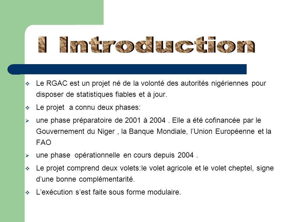 I Introduction Le RGAC est un projet né de la volonté des autorités nigériennes pour disposer de statistiques fiables et à jour.