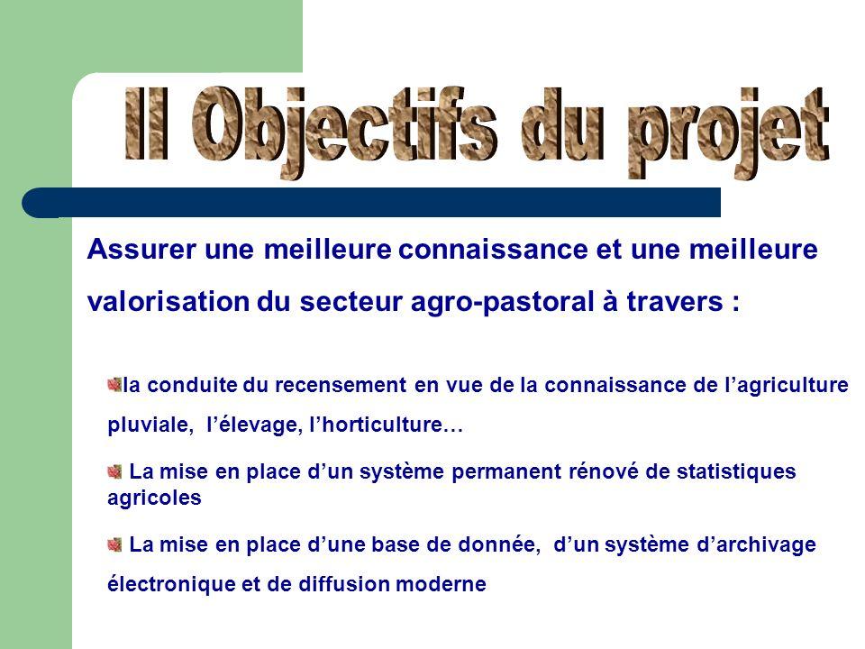 II Objectifs du projet Assurer une meilleure connaissance et une meilleure valorisation du secteur agro-pastoral à travers :