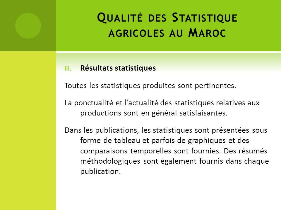 Qualité des Statistique agricoles au Maroc