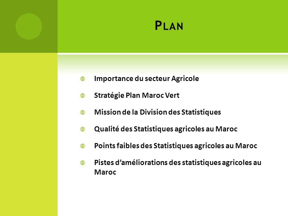 Plan Importance du secteur Agricole Stratégie Plan Maroc Vert