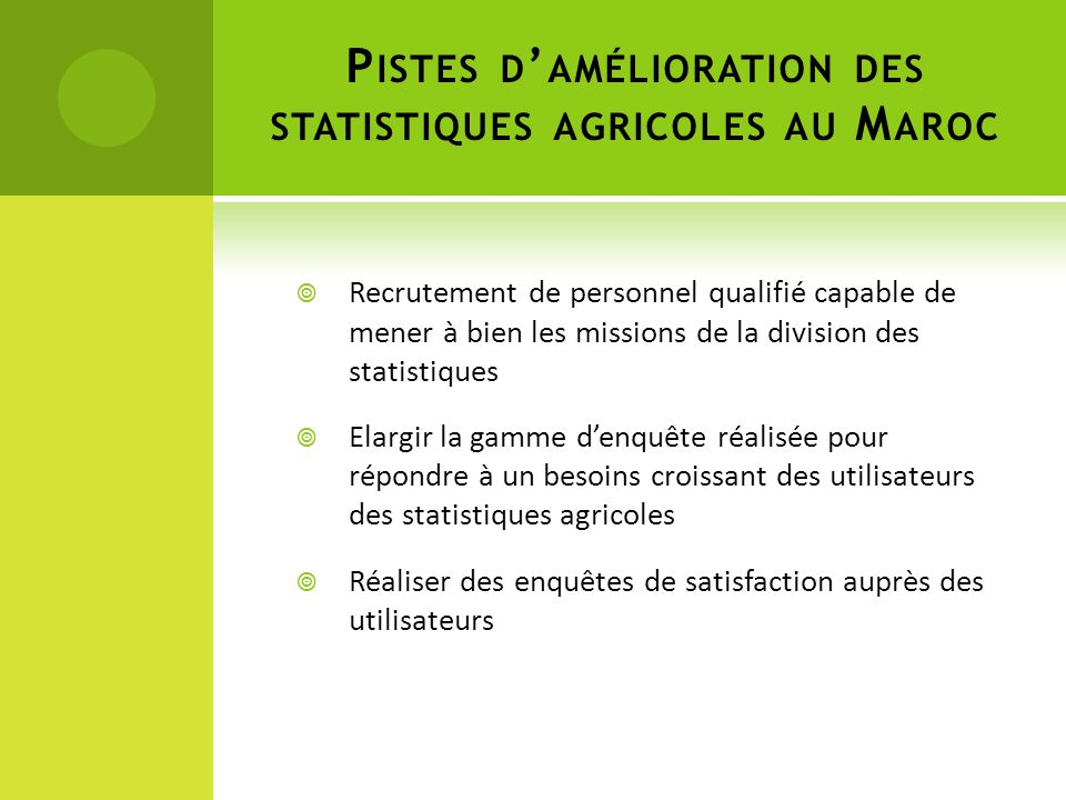 Pistes d'amélioration des statistiques agricoles au Maroc