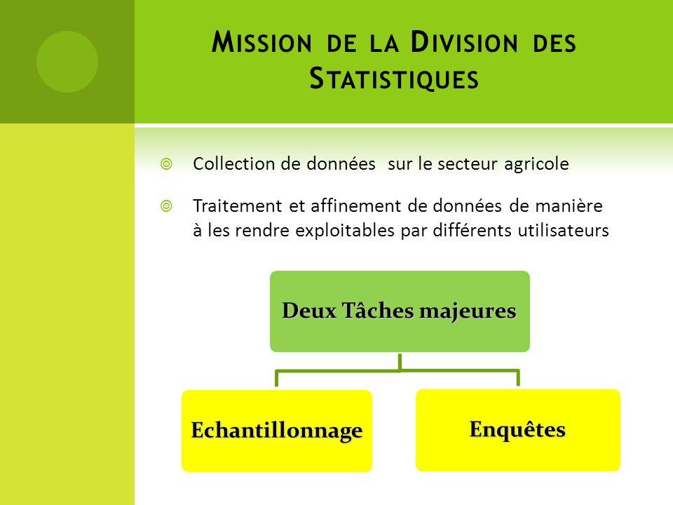 Mission de la Division des Statistiques