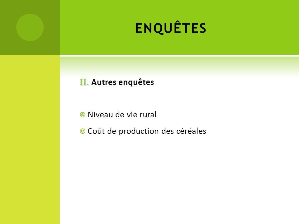 ENQUÊTES II. Autres enquêtes Niveau de vie rural