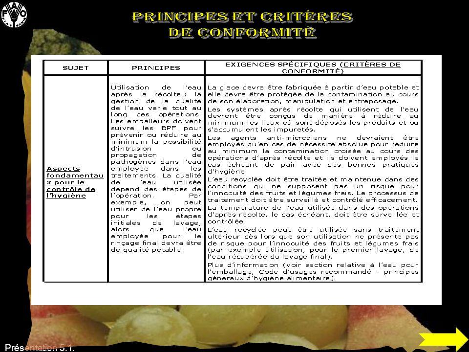 PRINCIPES et CRITÈRES DE CONFORMITÉ