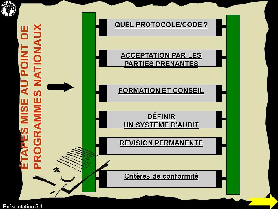 ACCEPTATION PAR LES PARTIES PRENANTES Critères de conformité