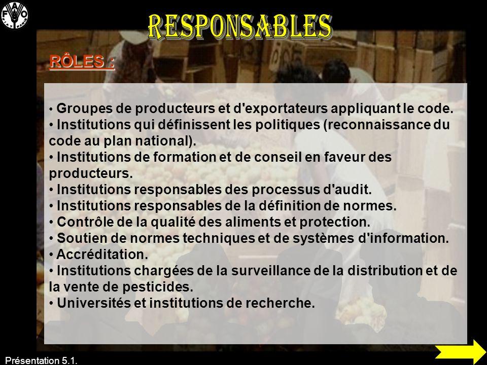 Responsables RÔLES : Groupes de producteurs et d exportateurs appliquant le code.