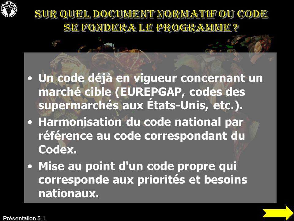 Sur quel document normatif ou code se fondera le programme