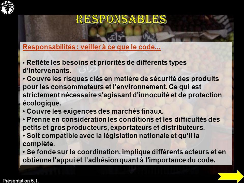 Responsables Responsabilités : veiller à ce que le code...