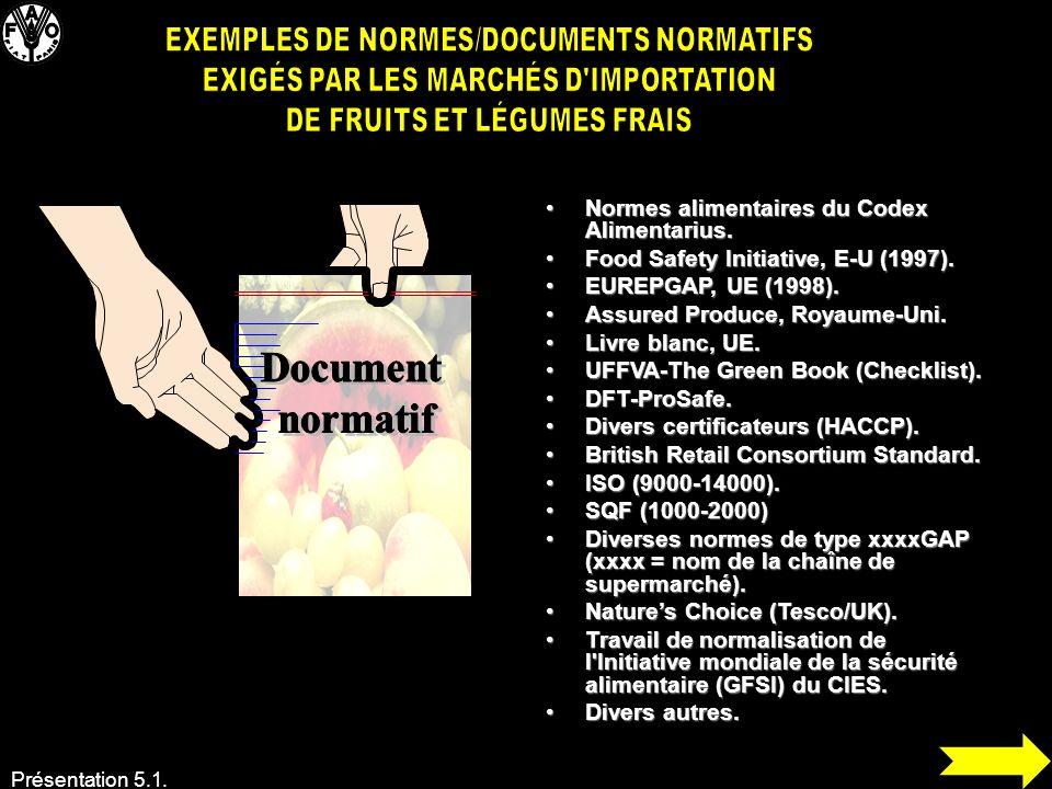 EXEMPLES DE NORMES/DOCUMENTS NORMATIFS