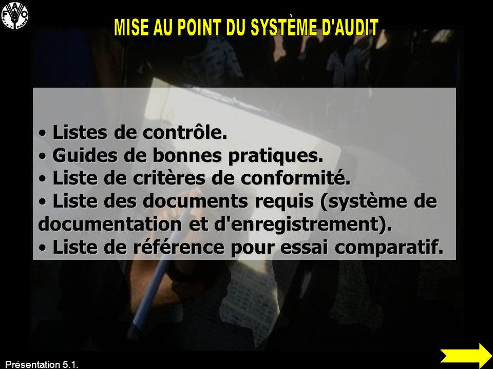MISE AU POINT DU SYSTÈME D AUDIT