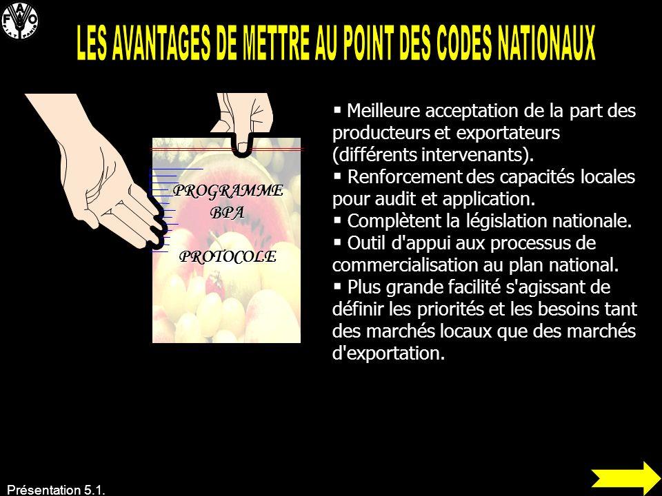 LES AVANTAGES DE METTRE AU POINT DES CODES NATIONAUX