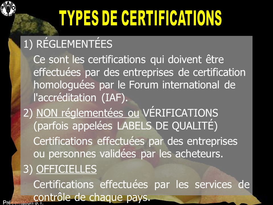 Types de certifications