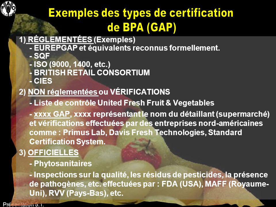 Exemples des types de certification