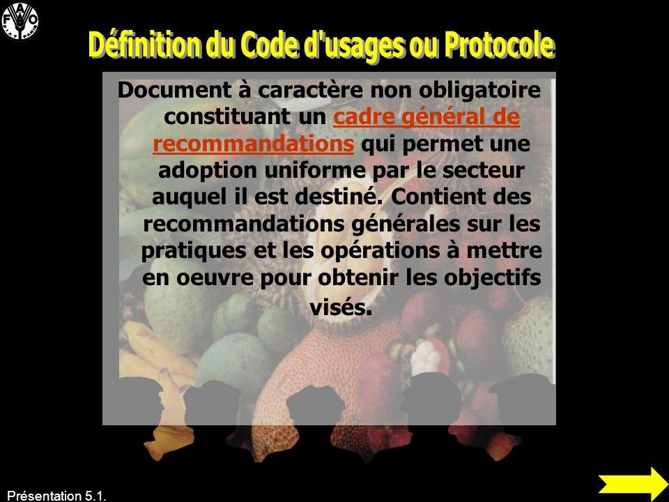 Définition du Code d usages ou Protocole