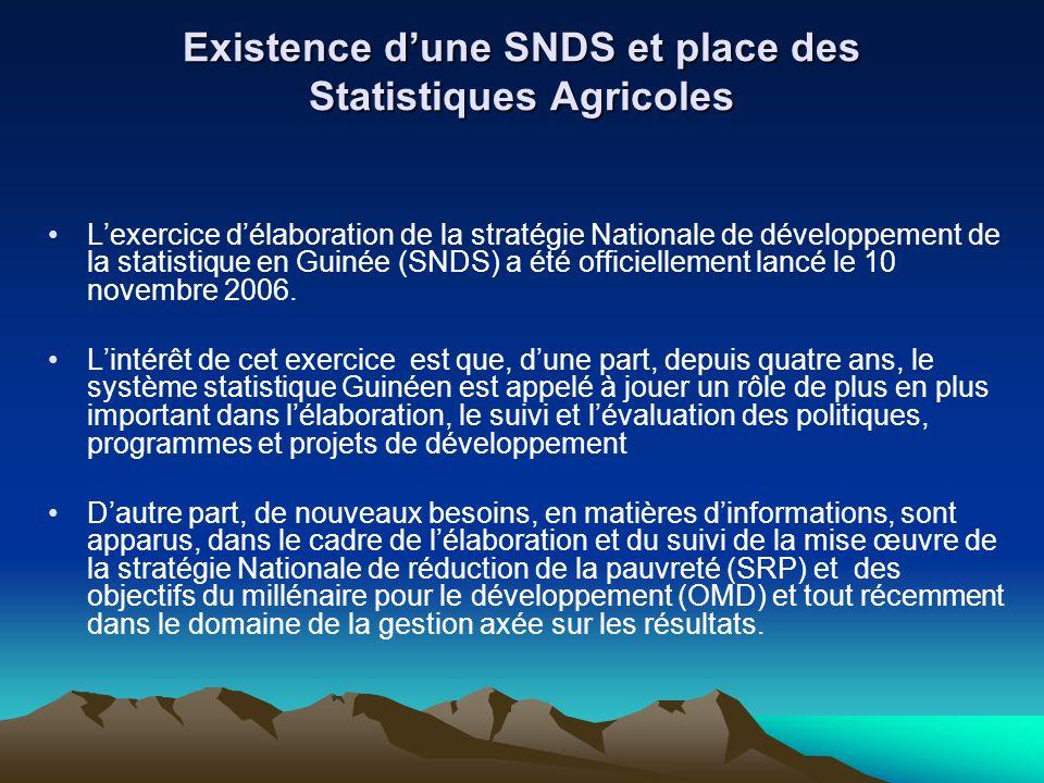 Existence d'une SNDS et place des Statistiques Agricoles