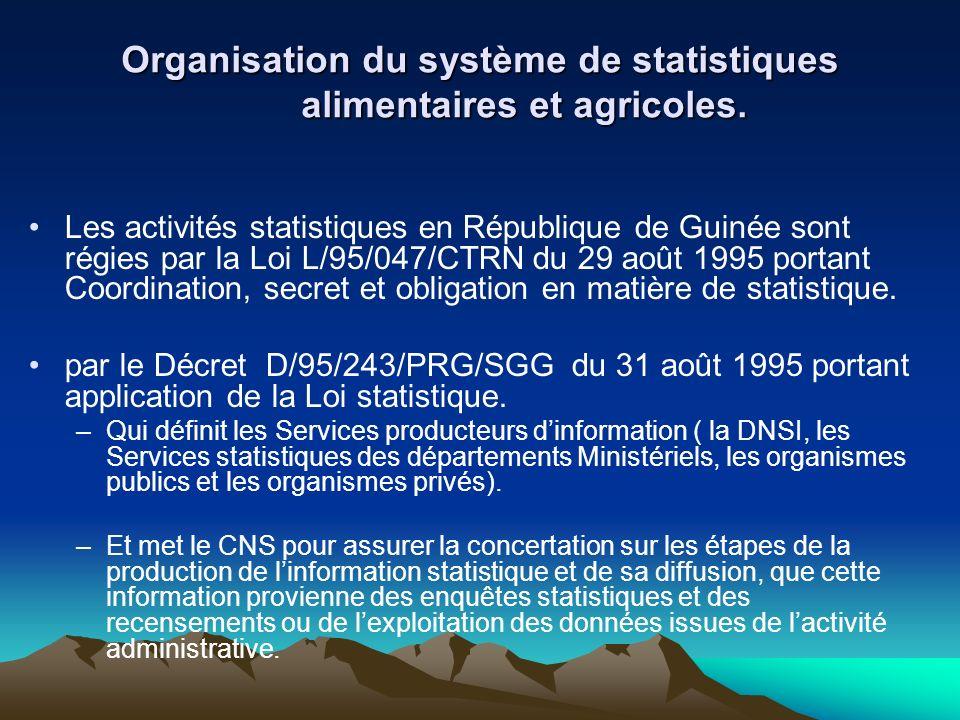 Organisation du système de statistiques alimentaires et agricoles.