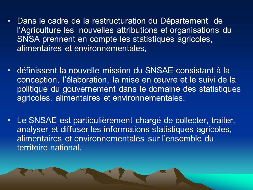 Dans le cadre de la restructuration du Département de l'Agriculture les nouvelles attributions et organisations du SNSA prennent en compte les statistiques agricoles, alimentaires et environnementales,