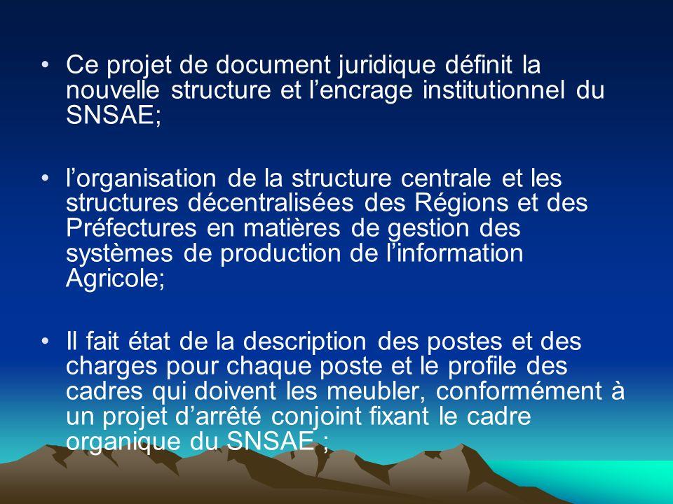 Ce projet de document juridique définit la nouvelle structure et l'encrage institutionnel du SNSAE;