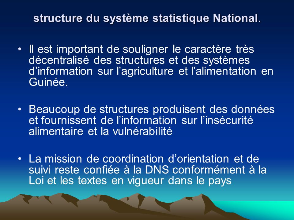structure du système statistique National.
