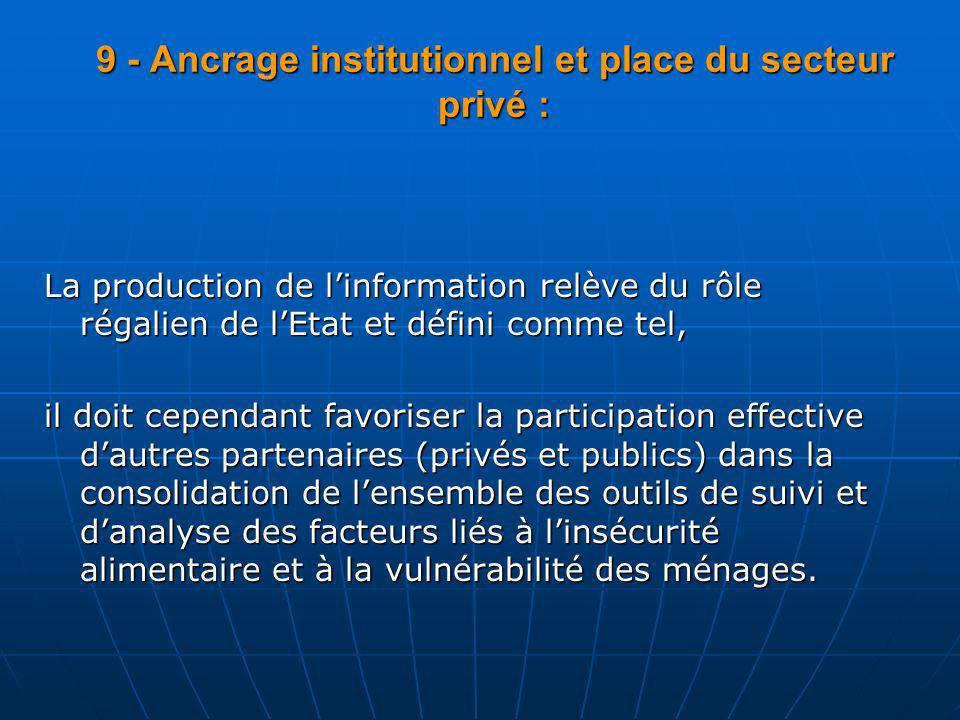 9 - Ancrage institutionnel et place du secteur privé :