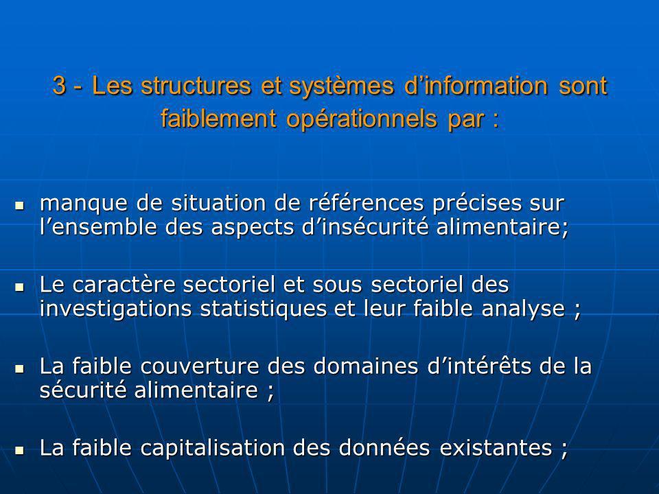3 - Les structures et systèmes d'information sont faiblement opérationnels par :