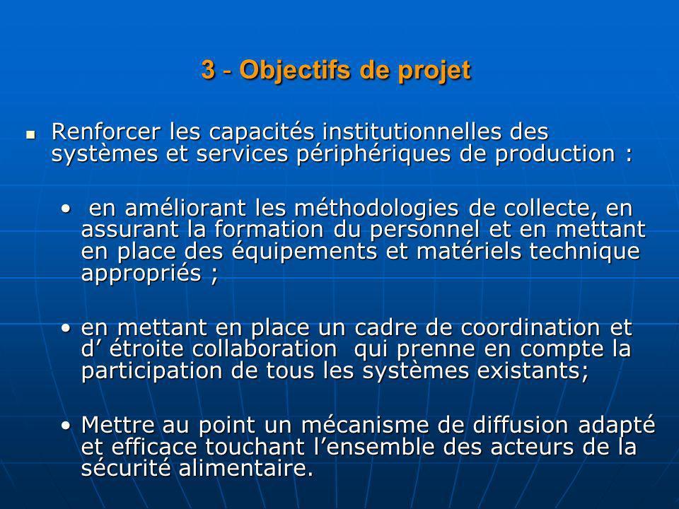 3 - Objectifs de projet Renforcer les capacités institutionnelles des systèmes et services périphériques de production :