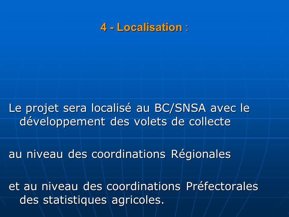 4 - Localisation :Le projet sera localisé au BC/SNSA avec le développement des volets de collecte. au niveau des coordinations Régionales.