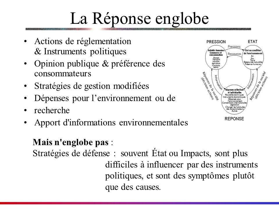 La Réponse englobe Actions de réglementation & Instruments politiques