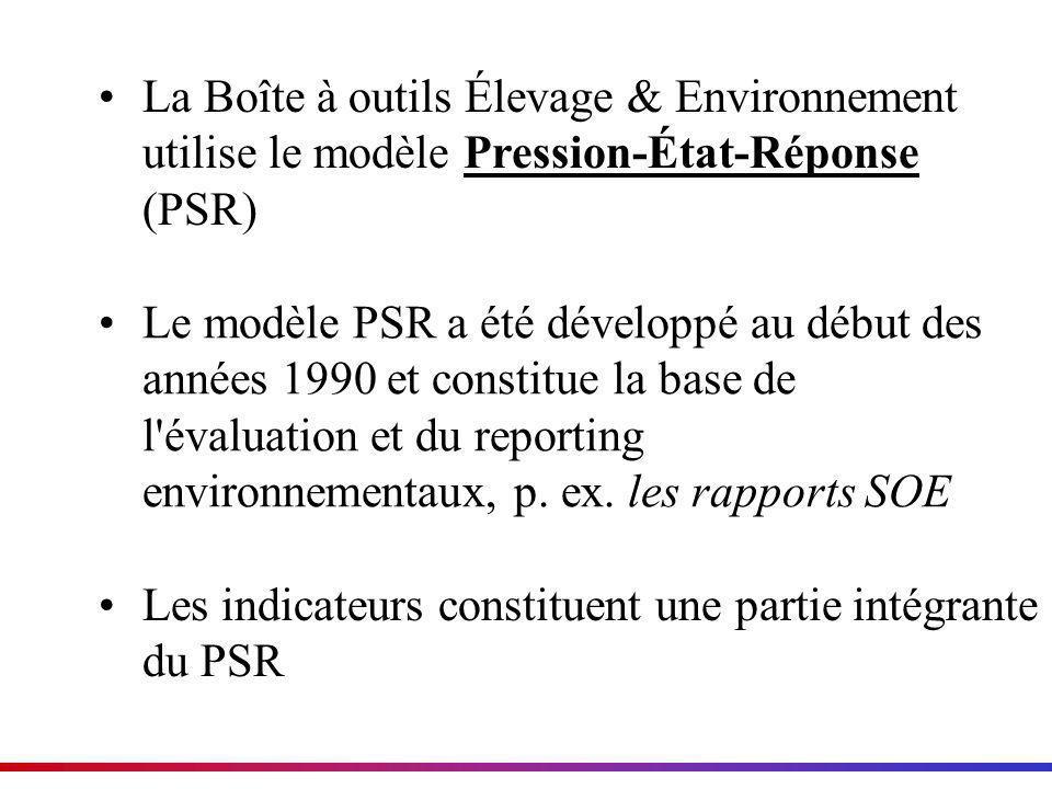 La Boîte à outils Élevage & Environnement utilise le modèle Pression-État-Réponse (PSR)