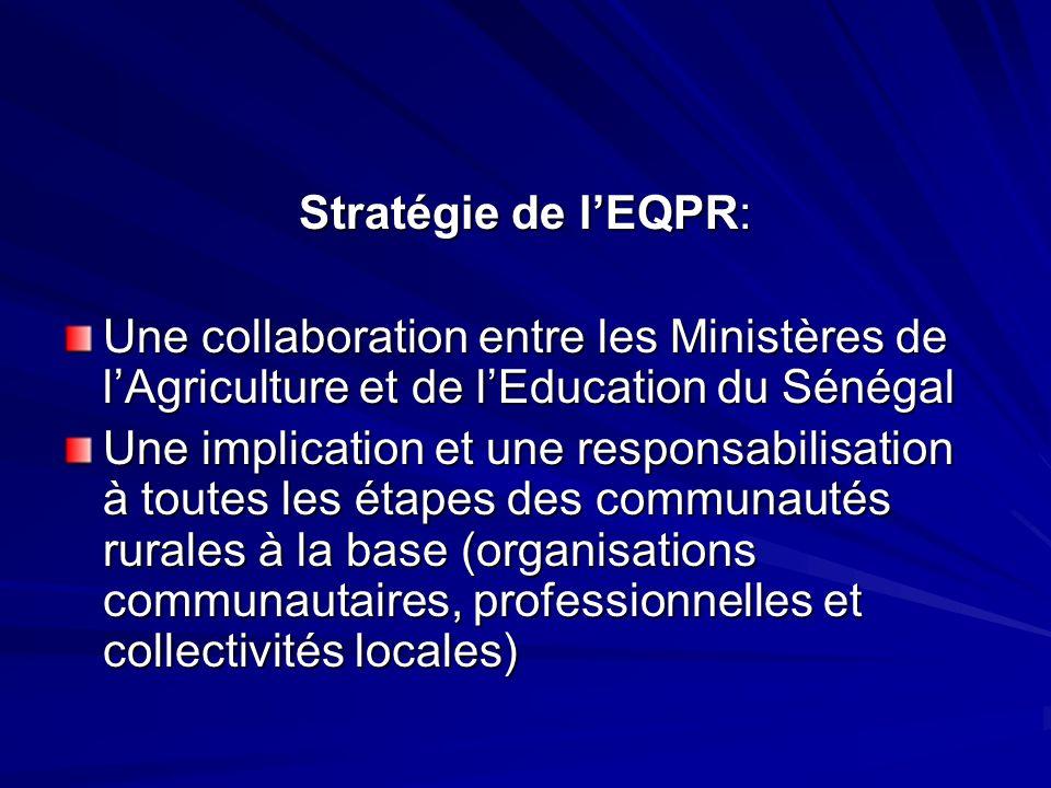 Stratégie de l'EQPR: Une collaboration entre les Ministères de l'Agriculture et de l'Education du Sénégal.
