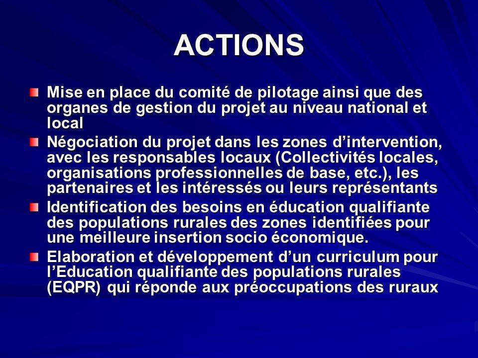 ACTIONS Mise en place du comité de pilotage ainsi que des organes de gestion du projet au niveau national et local.
