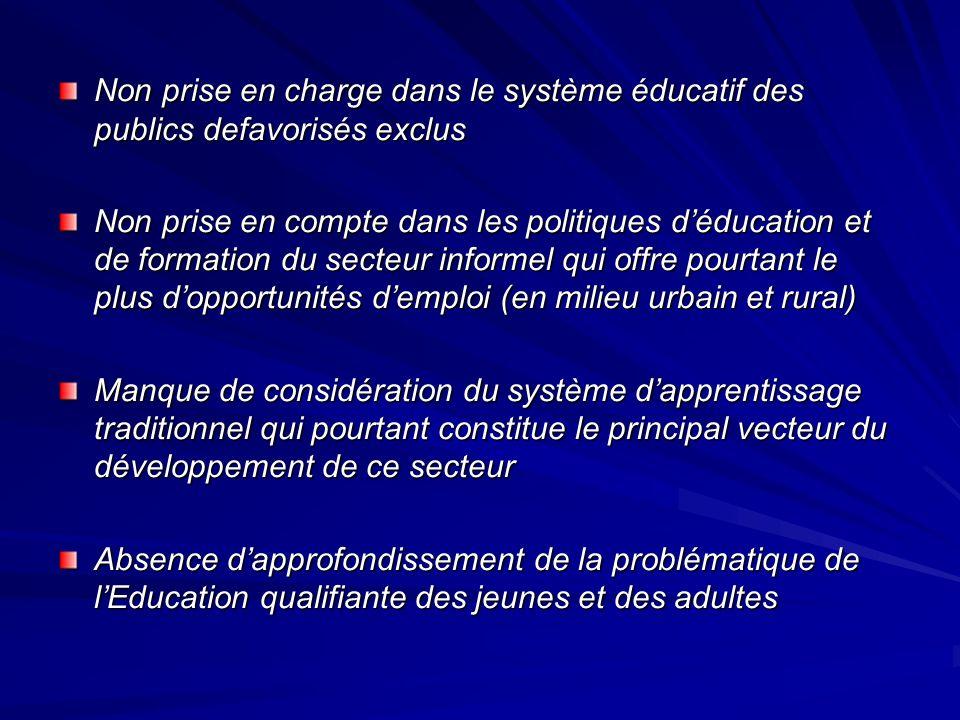 Non prise en charge dans le système éducatif des publics defavorisés exclus
