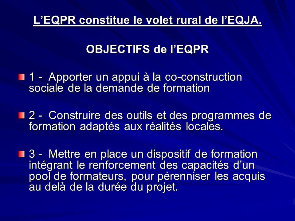 L'EQPR constitue le volet rural de l'EQJA.