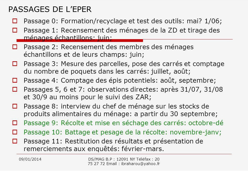 PASSAGES DE L'EPER Passage 0: Formation/recyclage et test des outils: mai 1/06;