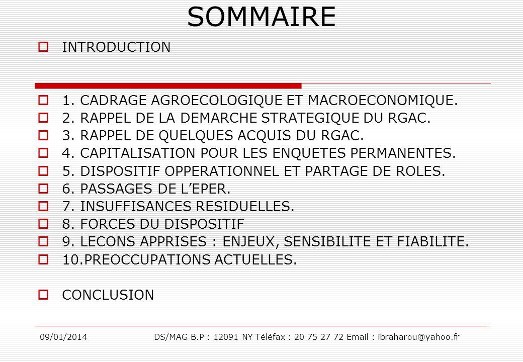 SOMMAIRE INTRODUCTION 1. CADRAGE AGROECOLOGIQUE ET MACROECONOMIQUE.