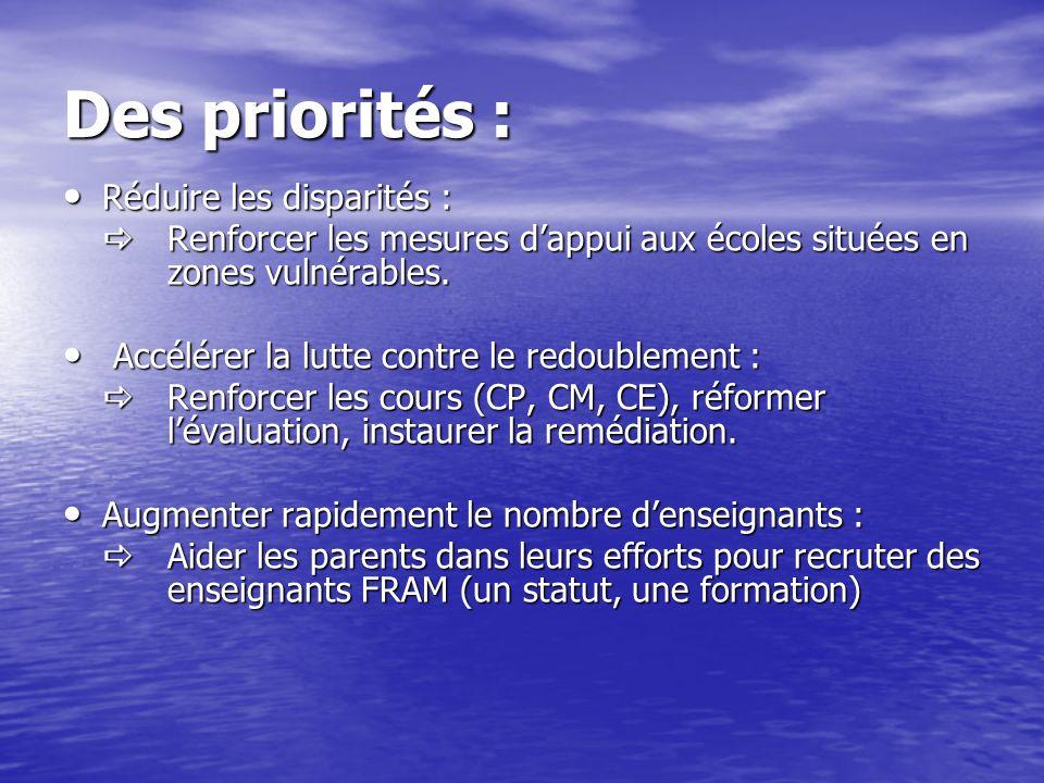 Des priorités : Réduire les disparités :
