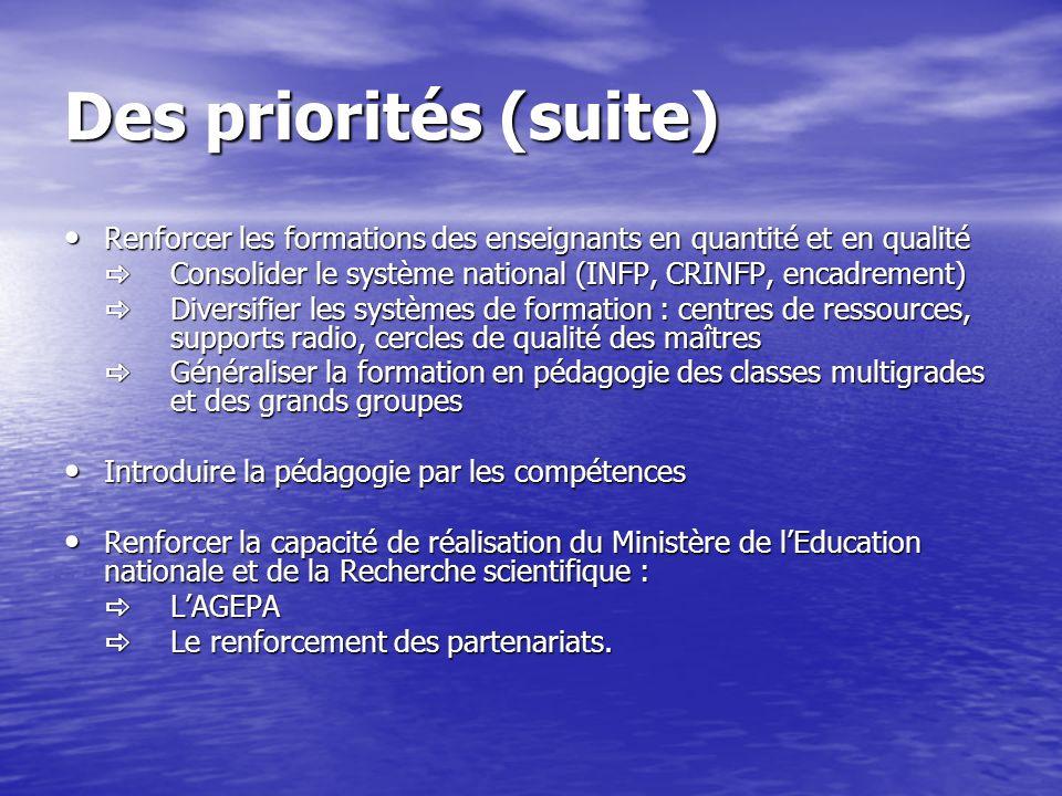 Des priorités (suite) Renforcer les formations des enseignants en quantité et en qualité.