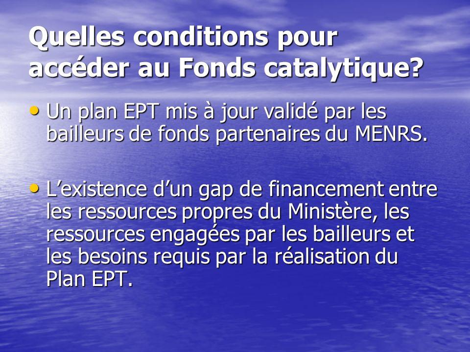 Quelles conditions pour accéder au Fonds catalytique