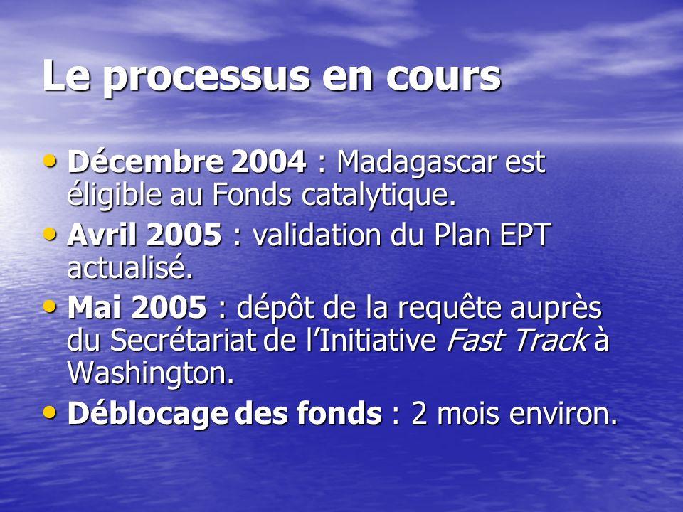 Le processus en cours Décembre 2004 : Madagascar est éligible au Fonds catalytique. Avril 2005 : validation du Plan EPT actualisé.