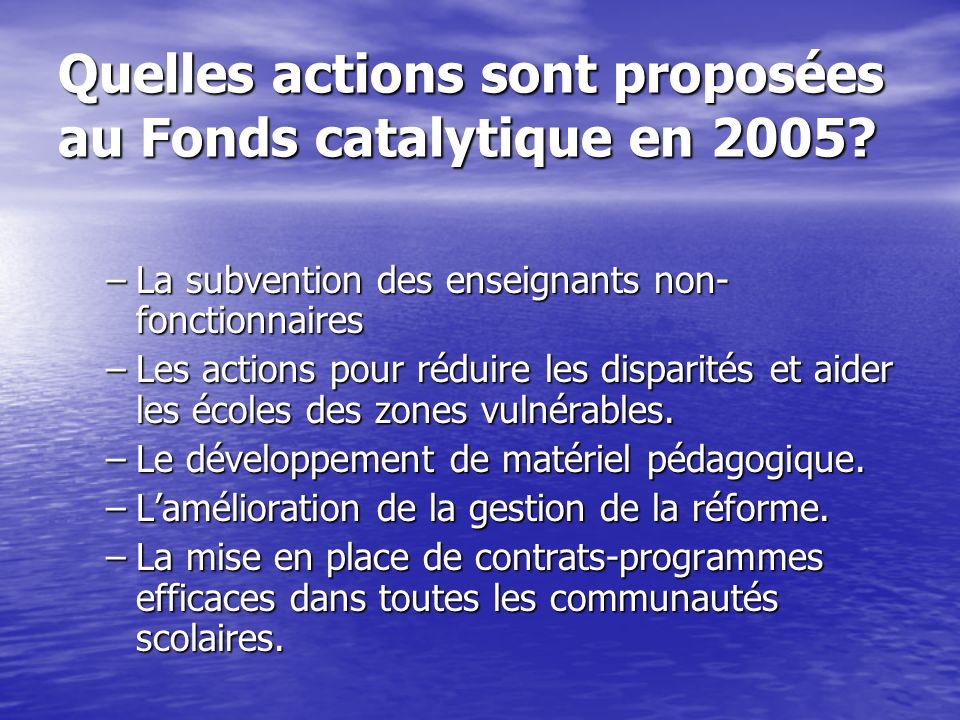 Quelles actions sont proposées au Fonds catalytique en 2005