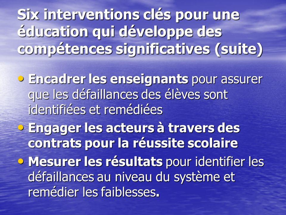 Six interventions clés pour une éducation qui développe des compétences significatives (suite)