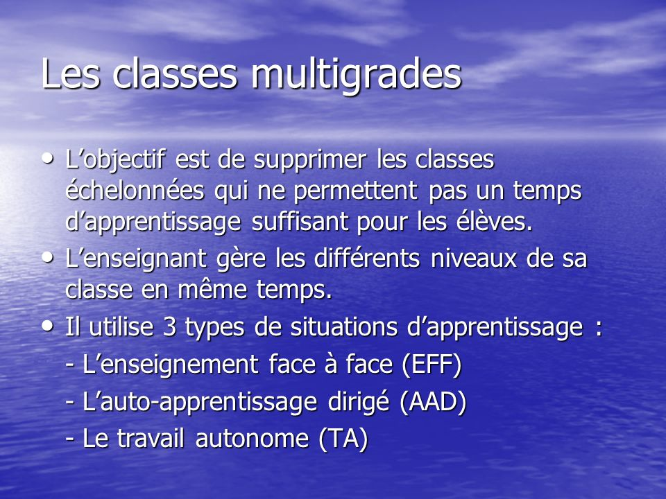 Les classes multigrades
