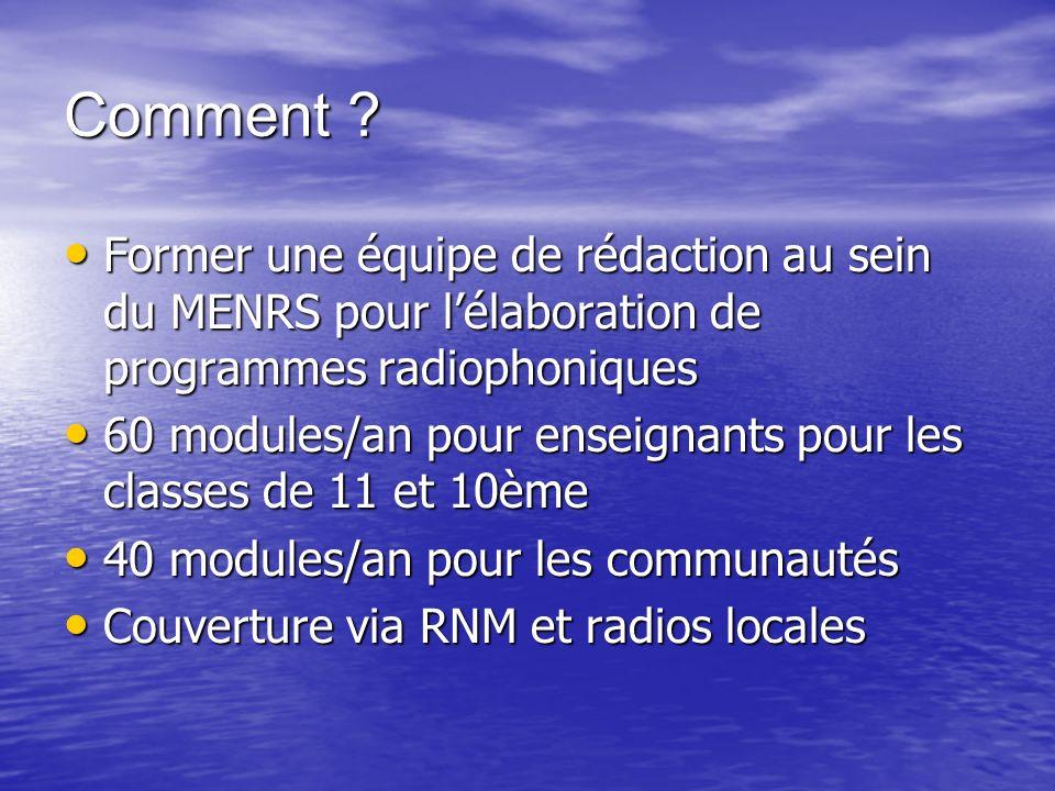 Comment Former une équipe de rédaction au sein du MENRS pour l'élaboration de programmes radiophoniques.
