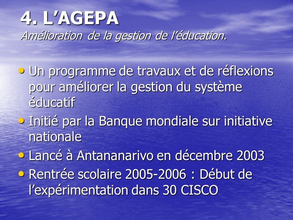 4. L'AGEPA Amélioration de la gestion de l'éducation.