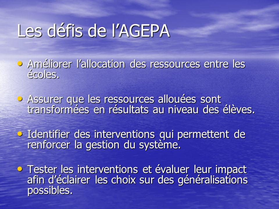 Les défis de l'AGEPA Améliorer l'allocation des ressources entre les écoles.