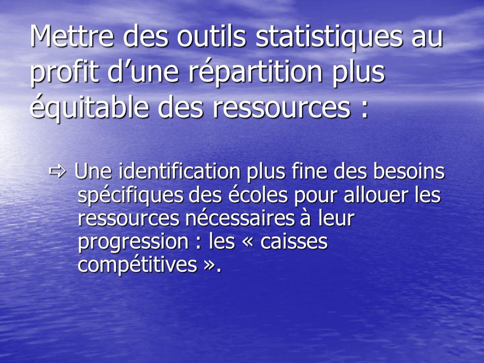 Mettre des outils statistiques au profit d'une répartition plus équitable des ressources :