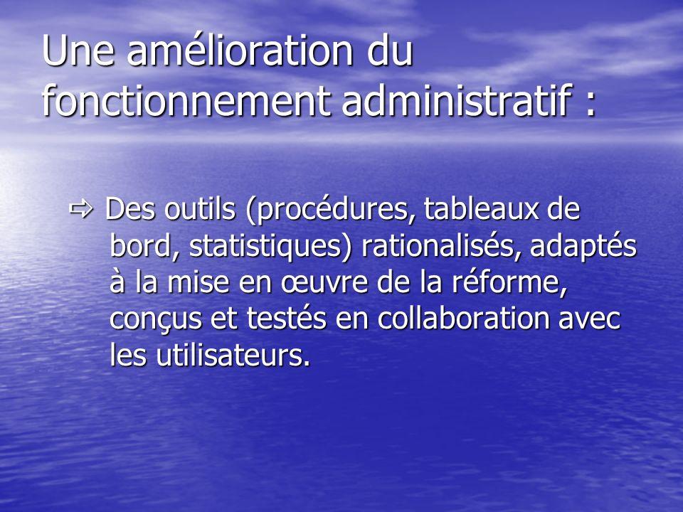 Une amélioration du fonctionnement administratif :