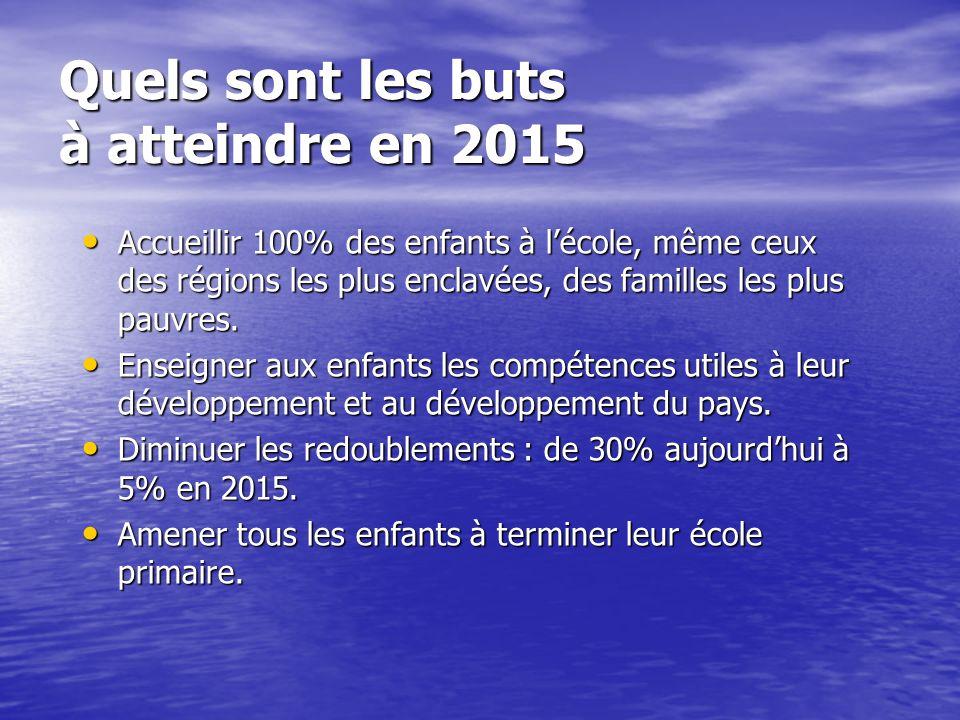 Quels sont les buts à atteindre en 2015