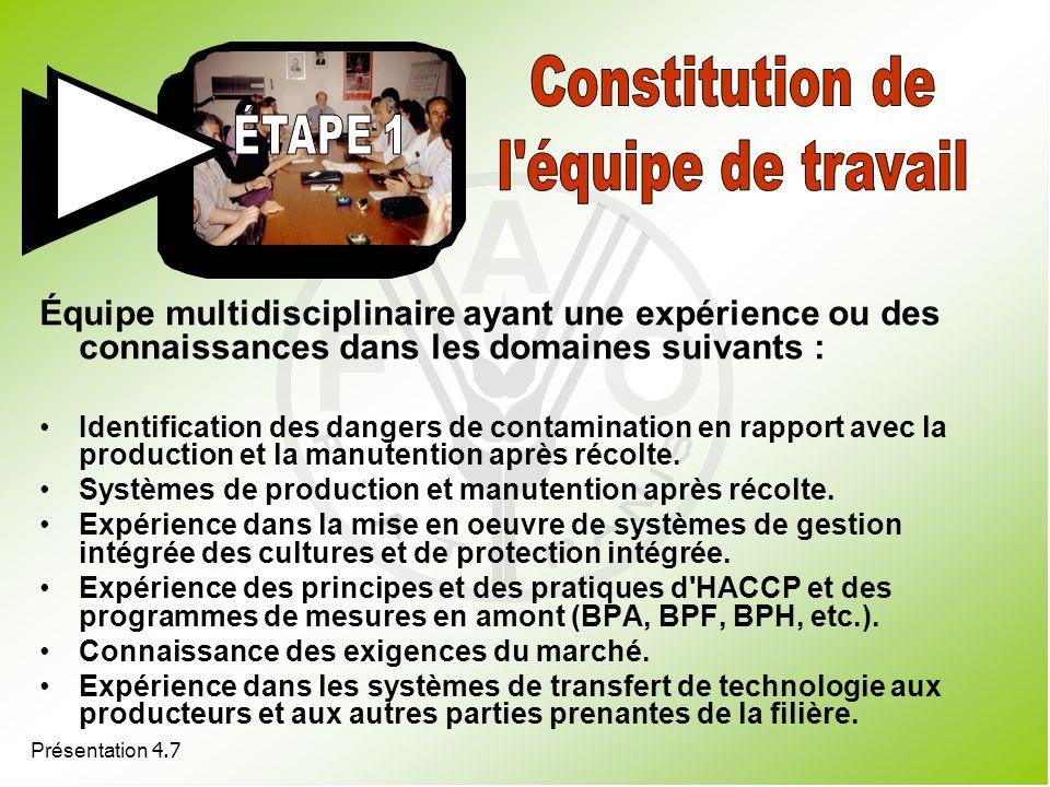 Constitution de l équipe de travail