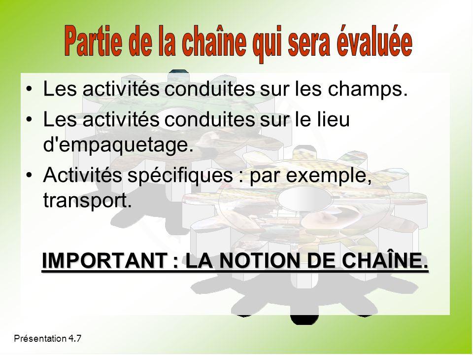 IMPORTANT : LA NOTION DE CHAÎNE.